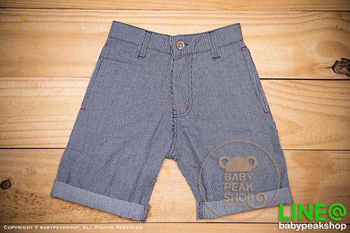 [ส่งฟรี] กางเกงขาสั้นเด็กโต MONSTER GANG PB099 ผ้า cotton แท้ สีกรมลายทาง มีกระเป๋าข้างและหลัง ไซส์ 4-6-8-10-12-14 3