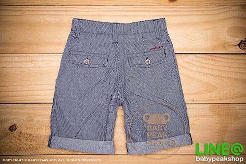 [ส่งฟรี] กางเกงขาสั้นเด็กโต MONSTER GANG PB099 ผ้า cotton แท้ สีกรมลายทาง มีกระเป๋าข้างและหลัง ไซส์ 4-6-8-10-12-14 4
