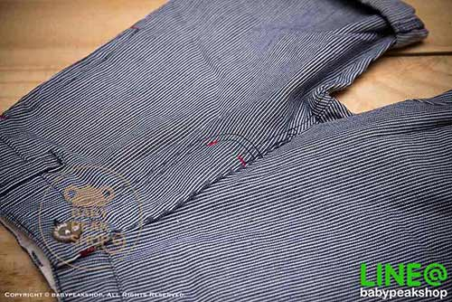 [ส่งฟรี] กางเกงขาสั้นเด็กโต MONSTER GANG PB099 ผ้า cotton แท้ สีกรมลายทาง มีกระเป๋าข้างและหลัง ไซส์ 4-6-8-10-12-14 5