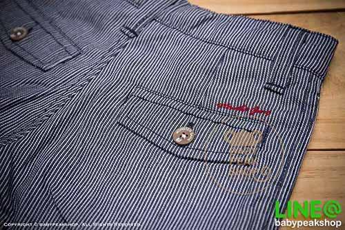 [ส่งฟรี] กางเกงขาสั้นเด็กโต MONSTER GANG PB099 ผ้า cotton แท้ สีกรมลายทาง มีกระเป๋าข้างและหลัง ไซส์ 4-6-8-10-12-14 6
