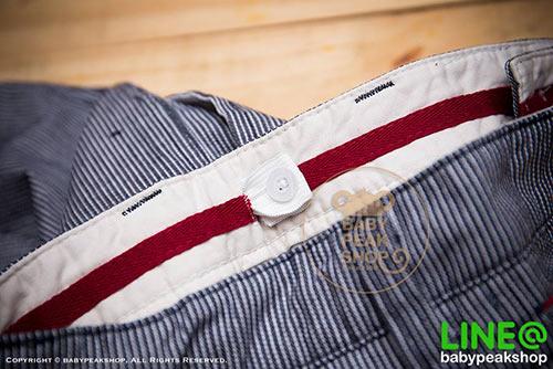 [ส่งฟรี] กางเกงขาสั้นเด็กโต MONSTER GANG PB099 ผ้า cotton แท้ สีกรมลายทาง มีกระเป๋าข้างและหลัง ไซส์ 4-6-8-10-12-14 7