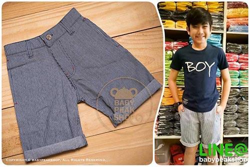 [ส่งฟรี] กางเกงขาสั้นเด็กโต MONSTER GANG PB099 ผ้า cotton แท้ สีกรมลายทาง มีกระเป๋าข้างและหลัง ไซส์ 4-6-8-10-12-14 1