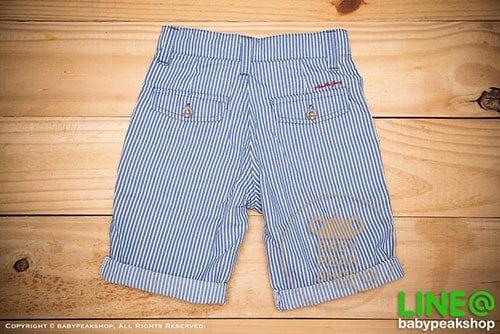 [ส่งฟรี] กางเกงขาสั้นเด็กโต MONSTER GANG PB099 ผ้า cotton แท้ สีฟ้าลายทาง มีกระเป๋าข้างและหลัง ไซส์ 4-6-8-10-12-14 3