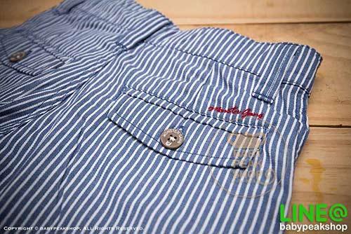 [ส่งฟรี] กางเกงขาสั้นเด็กโต MONSTER GANG PB099 ผ้า cotton แท้ สีฟ้าลายทาง มีกระเป๋าข้างและหลัง ไซส์ 4-6-8-10-12-14 5