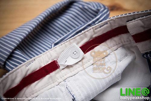 [ส่งฟรี] กางเกงขาสั้นเด็กโต MONSTER GANG PB099 ผ้า cotton แท้ สีฟ้าลายทาง มีกระเป๋าข้างและหลัง ไซส์ 4-6-8-10-12-14 6