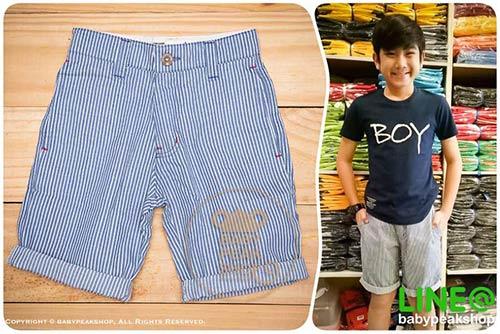 [ส่งฟรี] กางเกงขาสั้นเด็กโต MONSTER GANG PB099 ผ้า cotton แท้ สีฟ้าลายทาง มีกระเป๋าข้างและหลัง ไซส์ 4-6-8-10-12-14 1