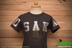 เสื้อยืดเด็กแขนสั้น ALANO ผ้า cotton แท้ สีเทาดำสกรีน OSAKA คุณภาพดี ไซส์ S-M-L-XL-XXL 1