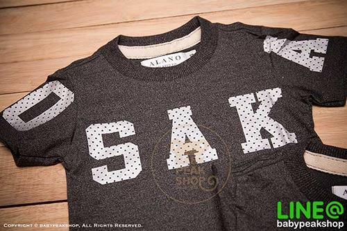 เสื้อยืดเด็กแขนสั้น ALANO ผ้า cotton แท้ 100% สีเทาดำสกรีน OSAKA คุณภาพดี ไซส์ S-M-L-XL-XXL 2