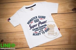 เสื้อยืดแขนสั้นเด็กเล็กสไตล์เกาหลี MONSTER GANG TK100 ผ้า cotton แท้เนื้อนุ่ม สกรีน SUPER POWER คุณภาพเยี่ยม ไซส์ 1-2-3 1