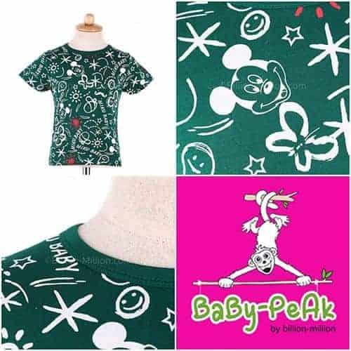 เสื้อยืดเด็กแขนสั้น CI-SI สีเขียว สกรีน Mickey Mouse 1