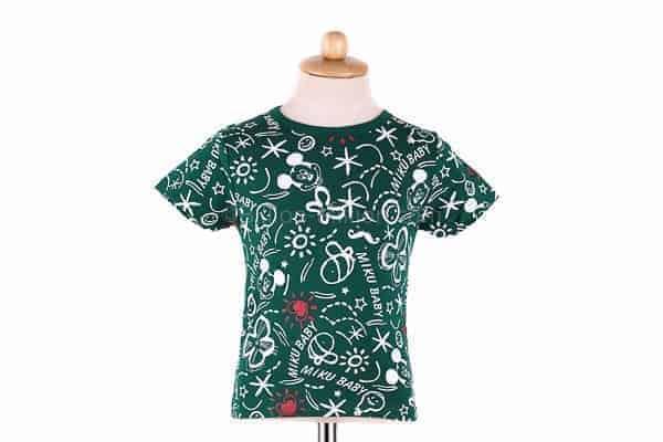 เสื้อยืดเด็กแขนสั้น CI-SI สีเขียว สกรีน Mickey Mouse 2