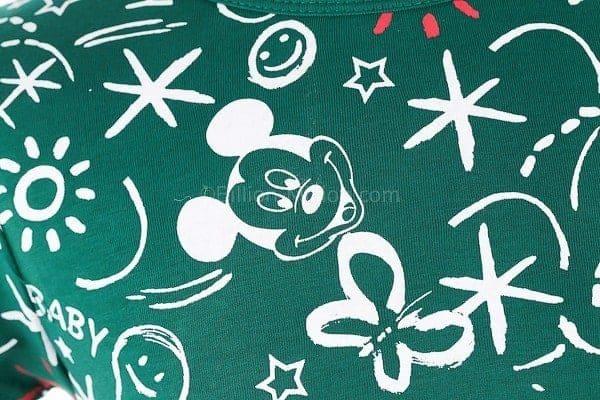 เสื้อยืดเด็กแขนสั้น CI-SI สีเขียว สกรีน Mickey Mouse 3