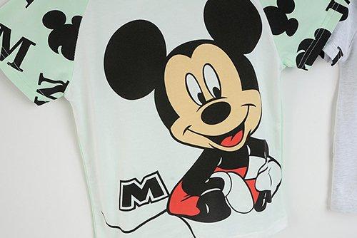 เสื้อยืดเด็กแขนสั้น CI-SI สีขาวแขนเขียว สกรีนลาย Mickey Mouse 3