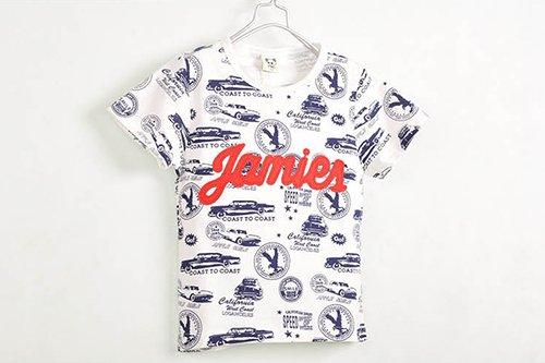 [ส่งฟรี] เสื้อยืดเด็กแขนสั้น CI-SI สีขาวปักแปะตัวอักษร Jamie สกรีนลายรถ 2