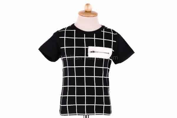 [ส่งฟรี] เสื้อยืดเด็กแขนสั้น CI-SI สีดำ สกรีนตารางแต่งซิป 2