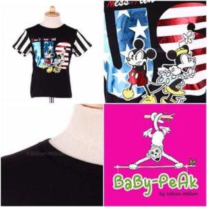 เสื้อยืดเด็กแขนสั้น CI-SI สีดำแขนลาย สกรีน Mickey Mouse & Minnie Mouse : Don't mess with US 11