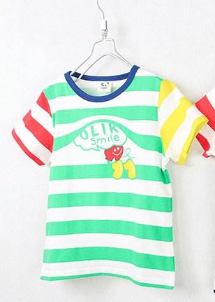 [ส่งฟรี] เสื้อยืดเด็กแขนสั้น CI-SI ลายขวางสีเขียว-แดง-เหลือง สกรีน OLIK smile 1