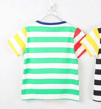[ส่งฟรี] เสื้อยืดเด็กแขนสั้น CI-SI ลายขวางสีเขียว-แดง-เหลือง สกรีน OLIK smile 2