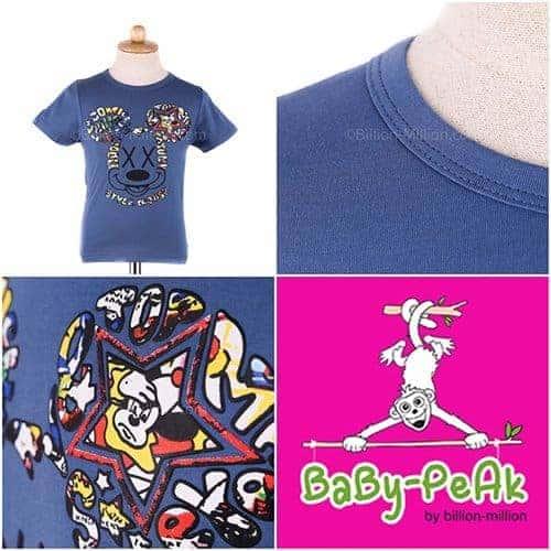 [ส่งฟรี] เสื้อยืดเด็กแขนสั้น CI-SI สีฟ้า สกรีนนูน Mickey Mouse 1
