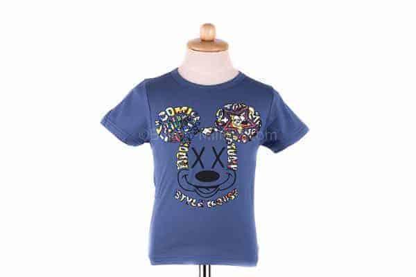 [ส่งฟรี] เสื้อยืดเด็กแขนสั้น CI-SI สีฟ้า สกรีนนูน Mickey Mouse 2