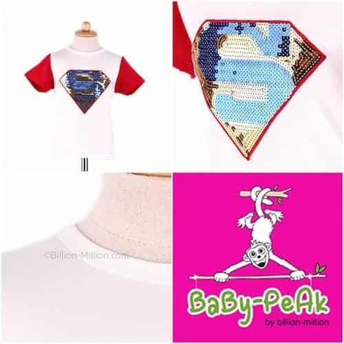 [ส่งฟรี] เสื้อยืดเด็กแขนสั้น CI-SI สีขาวแขนแดง ปักลาย Superman 1