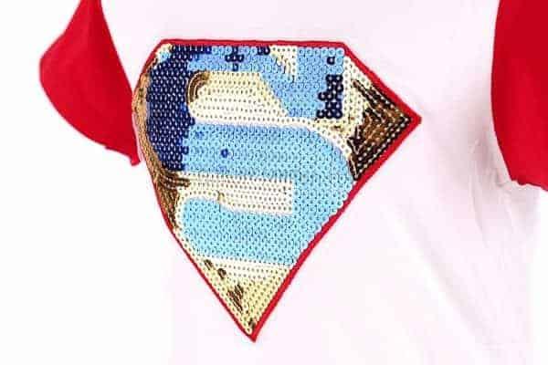 [ส่งฟรี] เสื้อยืดเด็กแขนสั้น CI-SI สีขาวแขนแดง ปักลาย Superman 3