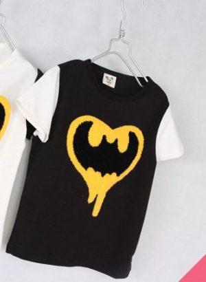เสื้อยืดเด็กแขนสั้น CI-SI สีดำ-ขาว ปักขนวูลาย Batman 6