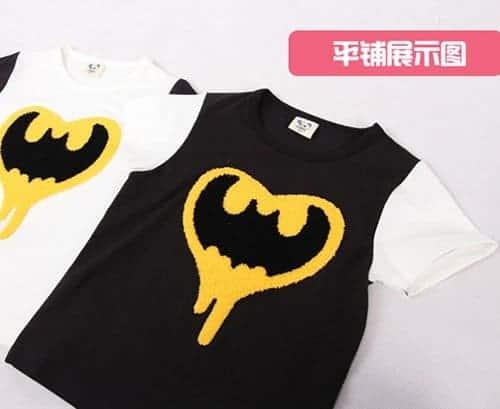 เสื้อยืดเด็กแขนสั้น CI-SI สีดำ-ขาว ปักขนวูลาย Batman 2