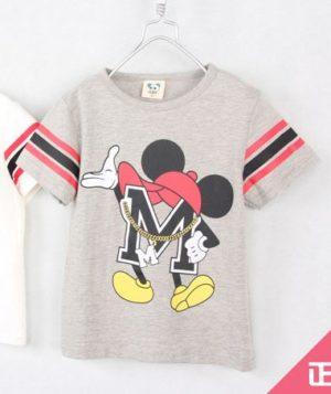 เสื้อยืดเด็กแขนสั้น CI-SI สีเทา-แขนแถบดำแดง สกรีน Mickey Mouse 10