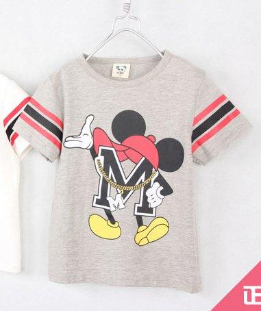 [ส่งฟรี] เสื้อยืดเด็กแขนสั้น CI-SI สีเทา-แขนแถบดำแดง สกรีน Mickey Mouse 1