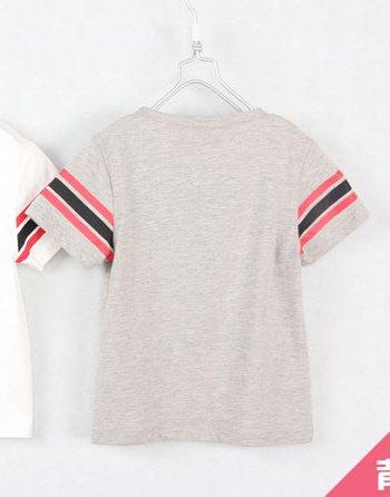 [ส่งฟรี] เสื้อยืดเด็กแขนสั้น CI-SI สีเทา-แขนแถบดำแดง สกรีน Mickey Mouse 2