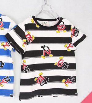 เสื้อยืดเด็กแขนสั้น CI-SI สีขาว-ลายขวางฟ้า สกรีนและแต่งหางปลาฉลาม 9