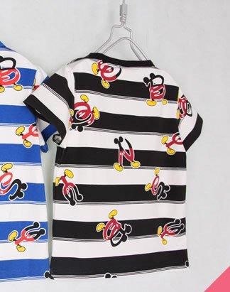 เสื้อยืดเด็กแขนสั้น CI-SI ลายขวางสีขาว-ดำ สกรีนตัวอักษร Mickey Mouse 2