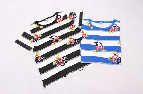 เสื้อยืดเด็กแขนสั้น CI-SI ลายขวางสีขาว-ดำ สกรีนตัวอักษร Mickey Mouse 6