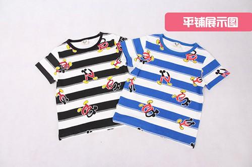 เสื้อยืดเด็กแขนสั้น CI-SI ลายขวางสีขาว-ดำ สกรีนตัวอักษร Mickey Mouse 7