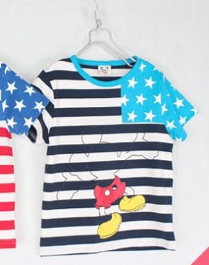 เสื้อยืดเด็กแขนสั้น CI-SI ลายขวางสีขาวกรมแขนดาว สกรีน Mickey Mouse 9