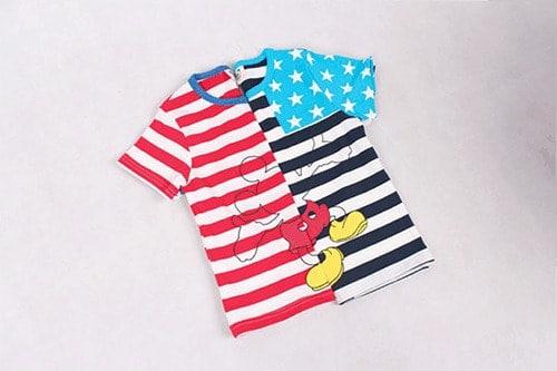 [ส่งฟรี] เสื้อยืดเด็กแขนสั้น CI-SI ลายขวางสีขาวกรมแขนดาว สกรีน Mickey Mouse 3