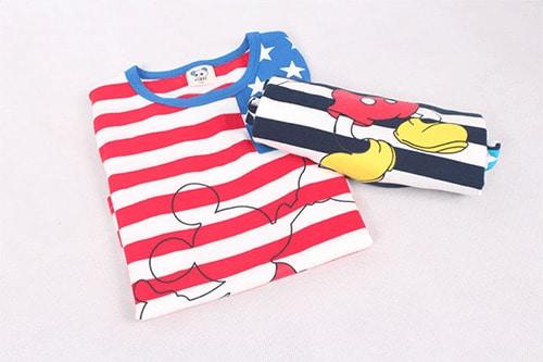 [ส่งฟรี] เสื้อยืดเด็กแขนสั้น CI-SI ลายขวางสีขาวกรมแขนดาว สกรีน Mickey Mouse 4