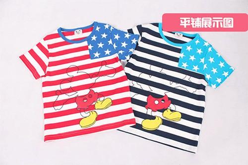 [ส่งฟรี] เสื้อยืดเด็กแขนสั้น CI-SI ลายขวางสีขาวกรมแขนดาว สกรีน Mickey Mouse 5