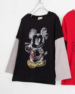 เสื้อยืดเด็กแขนยาว CI-SI สีดำแขนต่อเทา สกรีน Mickey Mouse 9