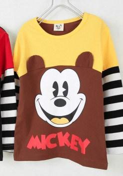 เสื้อยืดเด็กแขนยาว CI-SI สีน้ำตาลเหลืองแขนต่อ สกรีนและแต่งหู Mickey Mouse 11