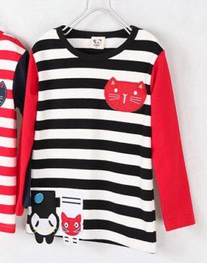 เสื้อยืดเด็กแขนยาว CI-SI ลายขวางสีดำตัดแขนสีแดง ปักแปะน้องแมว 7