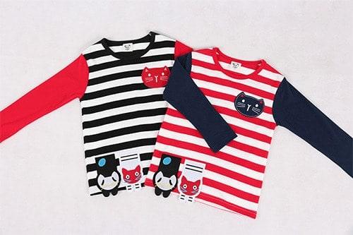 เสื้อยืดเด็กแขนยาว CI-SI ลายขวางสีดำตัดแขนสีแดง ปักแปะน้องแมว 4