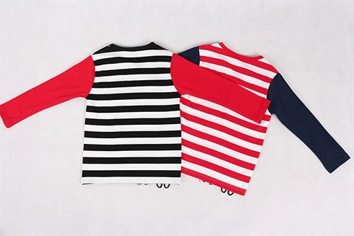 เสื้อยืดเด็กแขนยาว CI-SI ลายขวางสีดำตัดแขนสีแดง ปักแปะน้องแมว 5