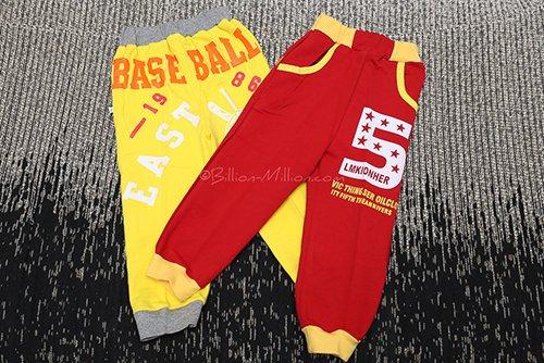 กางเกงเด็กขายาว เอวยางยืดขาจั๊ม BASEBALL สกรีนเบอร์ 5 2
