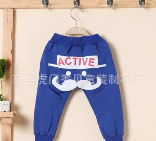 [ส่งฟรี] กางเกงเด็กขายาว เอวยางยืดแต่งกระเป๋าด้านหลัง สกรีน Mr.Potato Beard 3