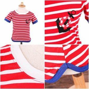 เสื้อยืดเด็กแขนสั้นลายขวางสีแดง สกรีนสมอเรือ 6