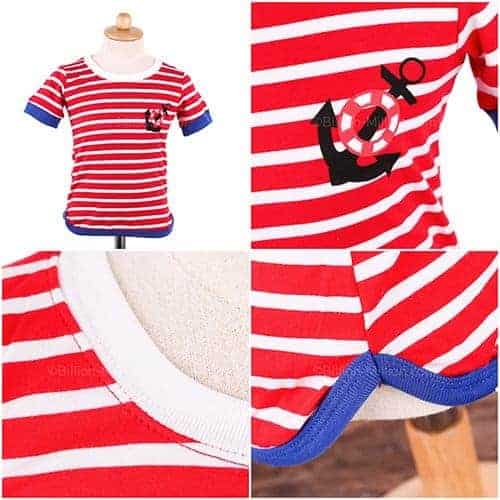 [ส่งฟรี] เสื้อยืดเด็กแขนสั้นลายขวางสีแดง สกรีนสมอเรือ 1