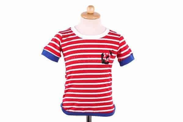 [ส่งฟรี] เสื้อยืดเด็กแขนสั้นลายขวางสีแดง สกรีนสมอเรือ 2