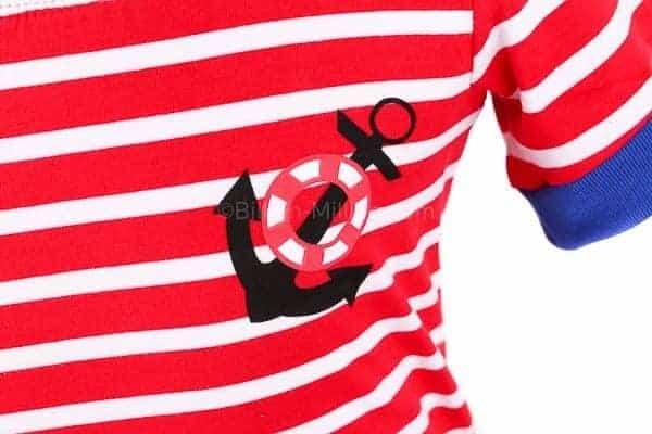 [ส่งฟรี] เสื้อยืดเด็กแขนสั้นลายขวางสีแดง สกรีนสมอเรือ 3